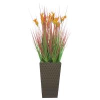 Трава с соцветием колосок искусственная в высоком кашпо 110 см