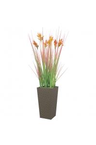 Трава с соцветием колосок искусственная в высоком кашпо 100 см