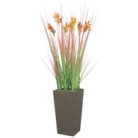 Трава с соцветием колосок красно-оранжевая искусственная в высоком кашпо 100 см