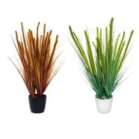 Трава с колосками большая искусственная в кашпо 90 см