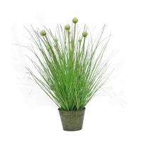 Трава с соцветием искусственная в металлическом ведерке 70 см