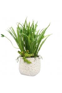 Трава с побегами и красулой искусственная в керамическом кашпо 40 см
