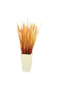 Трава с оранжевым соцветием искусственная в высоком кашпо 100 см