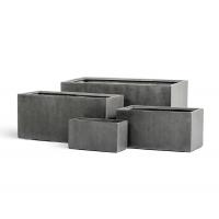 Кашпо Treez Effectory серия Beton низкий прямоугольник темно-серый