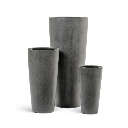 Кашпо Treez Effectory серия Beton высокий конус темно-серый от 45 до 90 см