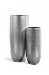 Кашпо Treez Effectory серия Metall высокий округлый конус - серебро