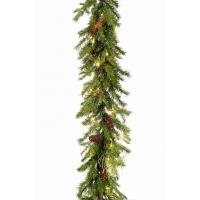 Еловая гирлянда GARLAND PE BATTERY искусственная c LED лампочками шишками и ягодами 245 см
