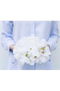Гортензия соцветие искусственная белая 20*22 см (real touch)
