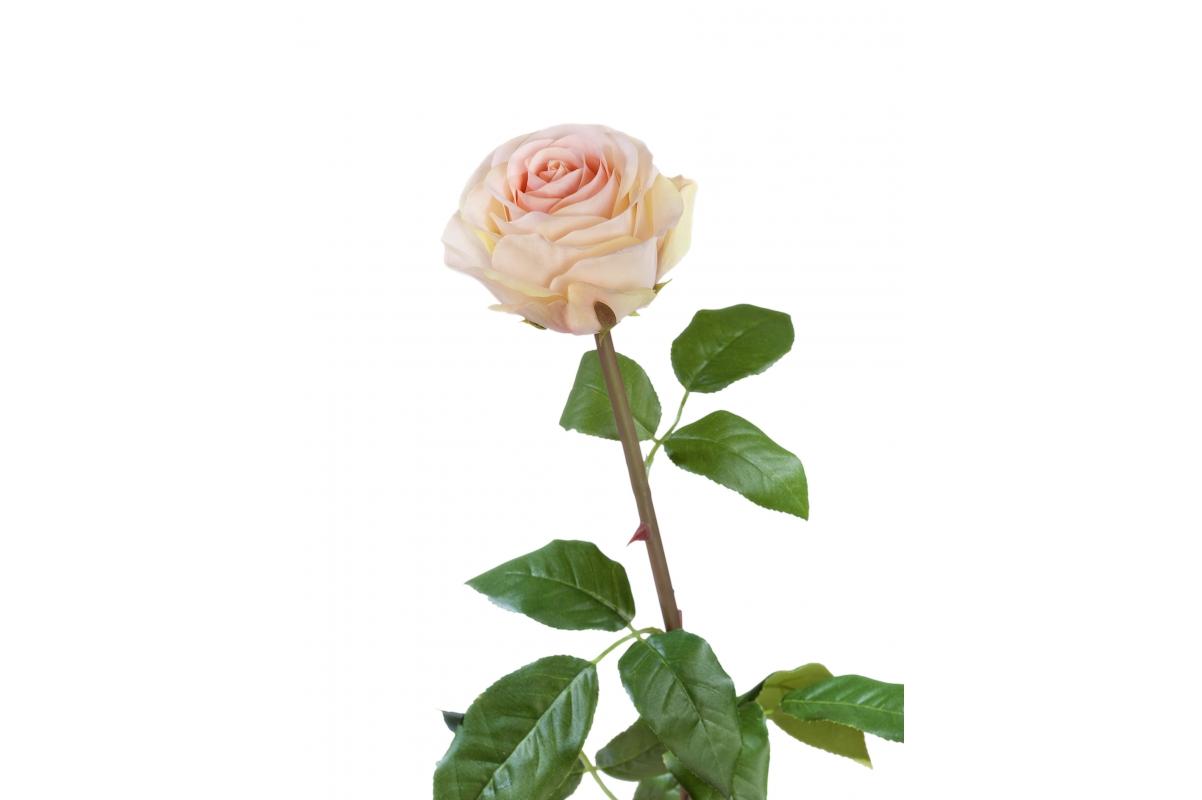 Роза Соло Нью большая искусственная кремово-розовая 72 см
