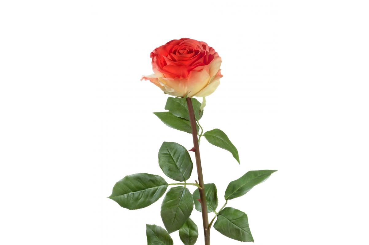 Роза Соло Нью большая искусственная желто-красная 72 см