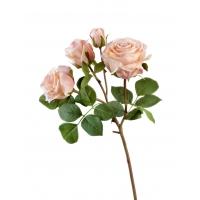 Роза Флорибунда ветвь искусственная светло-розовая 60 см