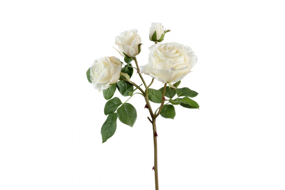 Роза Флорибунда ветвь искусственная белая 60 см