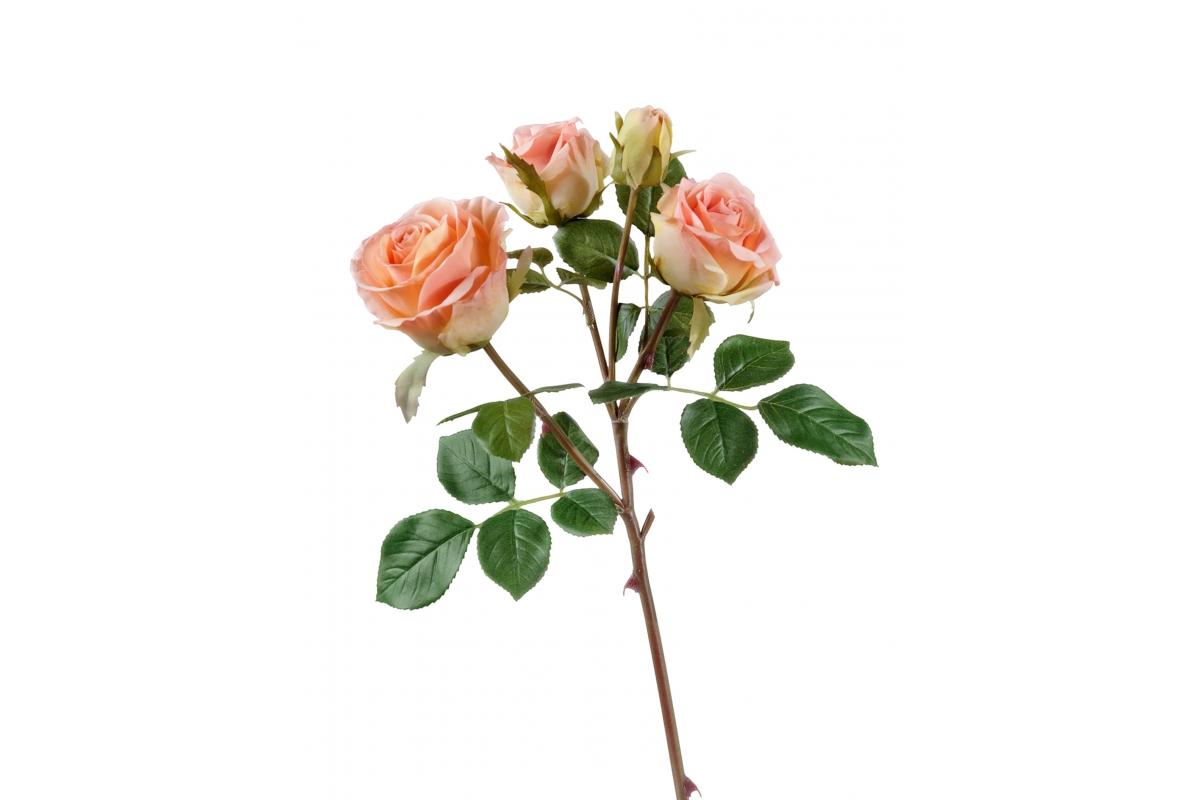 Роза Флорибунда ветвь искусственная розово-персиковая 60 см