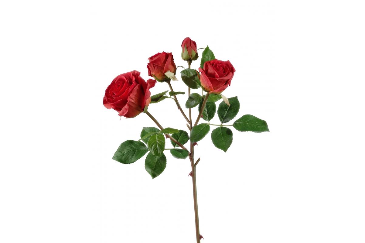 Роза Флорибунда ветвь искусственная красная 60 см