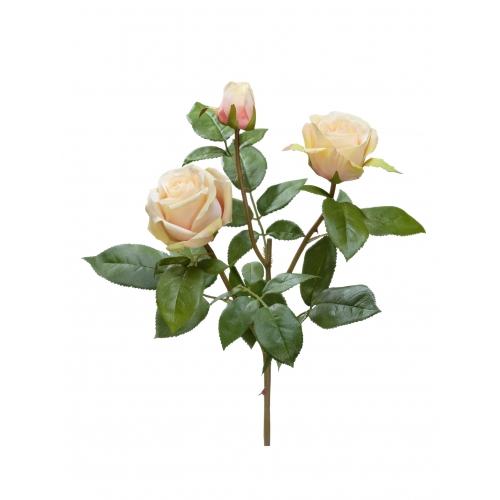 Роза Флорибунда Мидл ветвь искусственная кремово-розовая 36 см