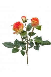 Роза Флорибунда Мидл ветвь искусственная золотисто-оранжевая 36 см