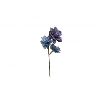 Суккулент мини Роза искусственный синий 20 см (Real Touch)