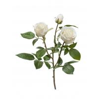 Роза Флорибунда Мидл ветвь искусственная белая 36 см