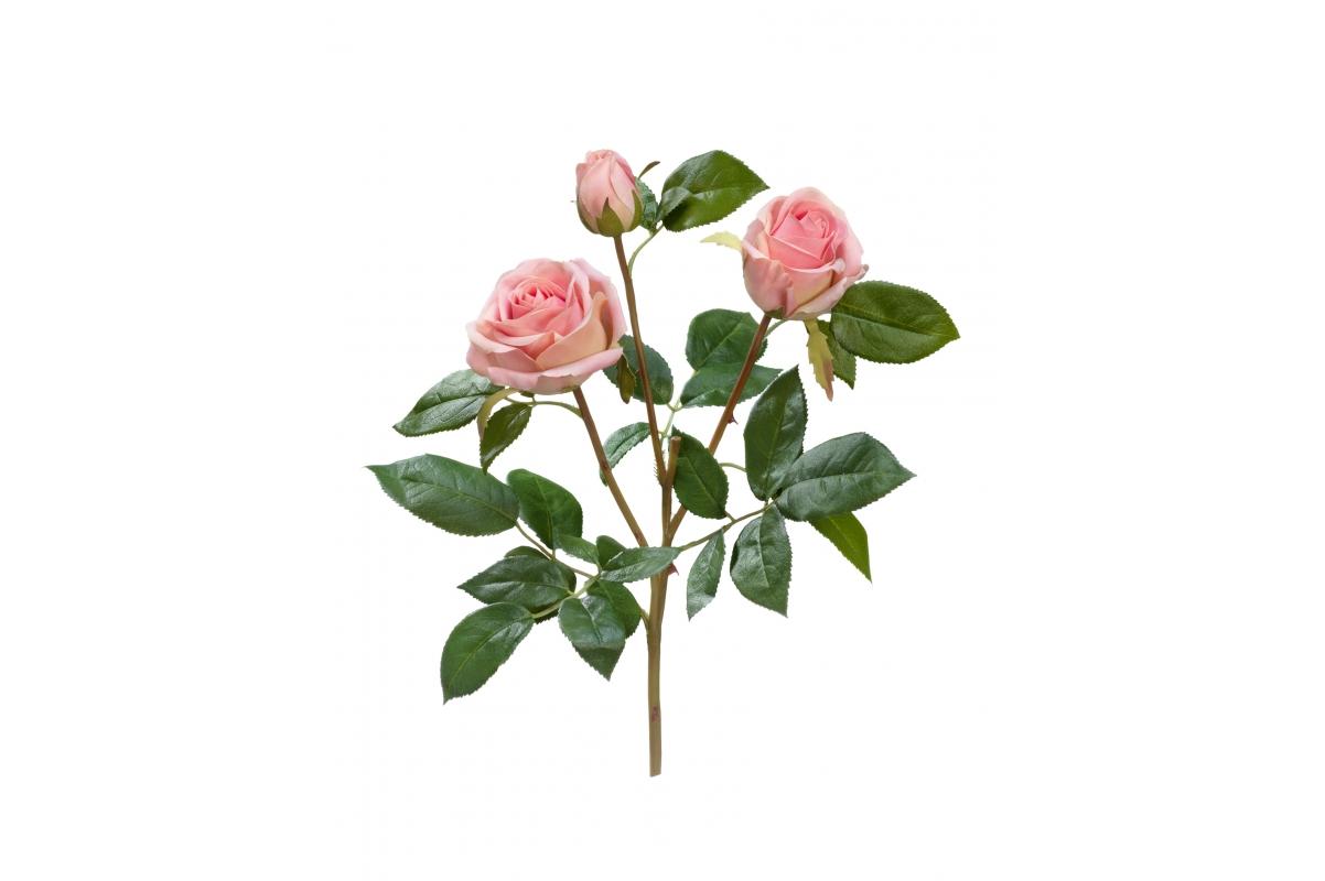 Роза Флорибунда Мидл искусственная ветвь нежно-розовая 36 см