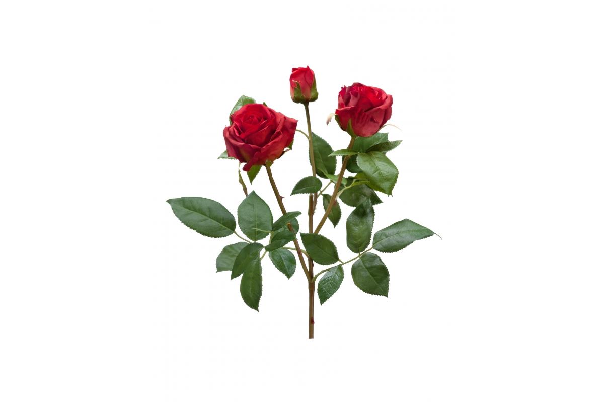 Роза Флорибунда Мидл ветвь Искусственная рубиново-красная 36 см