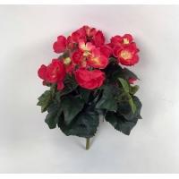 Бегония куст цветущая искусственная ярко-розовая 30 см