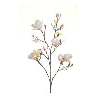 Магнолия ветка искусственная цветущая бело-розовая 105 см