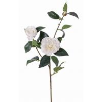 Цветок Камелии искусственный белый 86 см (real touch)