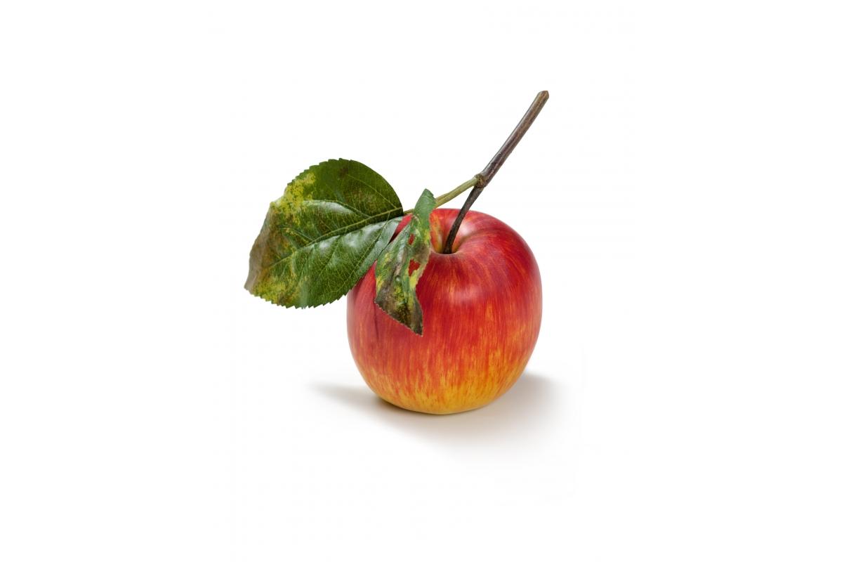 Яблоко на веточке искусственное красно-желтое 7 см