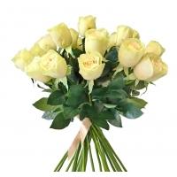 Букет из 25 искусственных роз Джессика зелено-белых 72 см