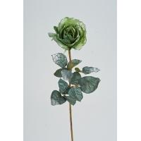 Роза новогодняя искусственная салатовая в серебре 60 см