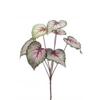 Бегония куст крупнолистная искусственная зелено-розовая 60 см
