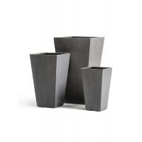 Кашпо Treez Effectory серия Beton высокая трапеция темно-серый бетон от 40 до 67 см
