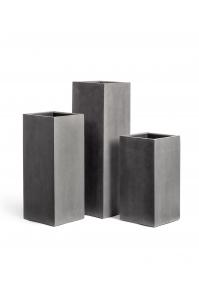 Кашпо Treez Effectory серия Beton высокий куб темно-серый бетон от 60 до 97 см